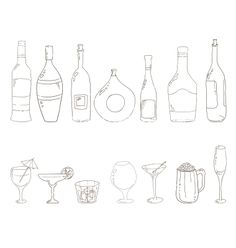 Sketch of wine bottles alcohol drinks champagne martini sketch vector by Julia_Snegireva on VectorStock®