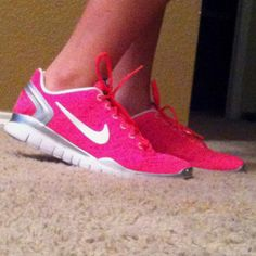 Highlighter pink nike shoes