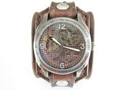 Steampunk+kožený+hodinky,+hnědá+kůže,+Farba:+hnědá+Šírka:+6+cm+Hodinky:+Ouyawei+-+samonaťahovacie+bez+baterky+Vyrobím+podľa+požiadavky.+Potrebujem+Váš+obvod+zápästia.+Hodinky+vyrobím+podľa+požiadavky+tak+aby+sedeli+na+vašu+ruku.+Pred+kúpou+mi+napíšte+správu+a+všetko+upresníme