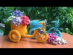 How To Make Origami Tricycle Flower Basket Diy Origami Cards, Origami And Quilling, Origami Paper, Diy Paper, Paper Crafts, Origami Bouquet, Origami Flowers, 3d Origami Tutorial, Origami Patterns