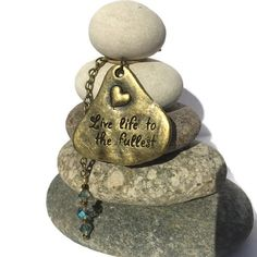 Live Life Rock Cairn Zen Garden Wishing by CedarwoodCreations