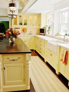 Shaw's Original made by Rohl - Falmouth Kitchen Remodel - traditional - kitchen - portland maine - Robin Amorello, CKD CAPS - Atmoscaper Design Long Narrow Kitchen, Narrow Kitchen Island, Yellow Kitchen Cabinets, Kitchen Layout, Yellow Kitchens, Cream Cabinets, Kitchen Yellow, Wood Cabinets, Country Kitchen