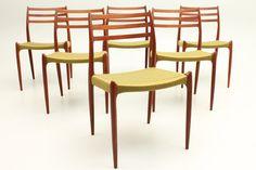 Set of 6 teak Møller Model 78 Chairs with woven danish cord seats. Designed by Niels Ole Møller and manufactured by J.L.Møllers stolefabrik, Denmark. www.reModern.dk