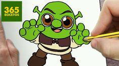 COMO DIBUJAR SHREK KAWAII PASO A PASO - Dibujos kawaii faciles - How to ... Kawaii Doodles, Kawaii Art, Kawaii Drawings, Easy Drawings, Shrek Drawing, Rick And Morty Drawing, Painting Workshop, Stone Crafts, Drawing Sketches