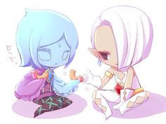 Chibis Ghirahim and Fay donut time, by unknown artist