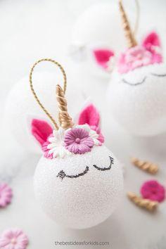 DIY Unicorn Christmas Ornaments