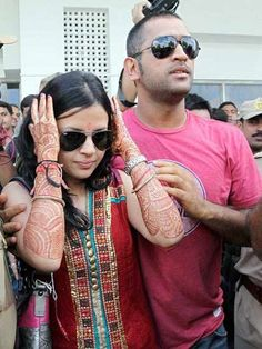 Mahendra Singh Dhoni with Wife