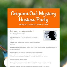 Origami Owl Mystery Hostess Party Idea --Definitely going to do this in October before the Christmas rush!  sparklingstory.origamiowl.com