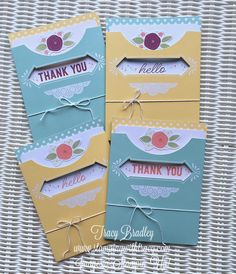 Pretty Pocket Card Kit –  It's FREE!! with a $50 purchase through 3-31-17.  There are enough materials to make 8 cards.  by Tracy Bradley www.stampingwithtracy.com Pocket Cards, Card Kit, Stamping, Pretty, Projects, How To Make, Gifts, Free, Log Projects