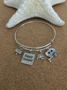 HAPPY CAMPER Bracelet-Silver-Plated Bangle by TheCharmingSister