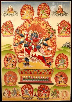 Vajra Heruka thangka painting ~ the dark blue wrathful beings of the Tantra embody the transmuted energy of hatred and aggression into Mirror-like Wisdom.  He is the wrathful form of Aksobhya.