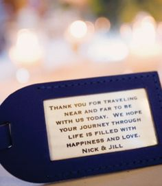 """Luggage tags that say """"Bon voyage!"""" as wedding favors for travel themed wedding!"""
