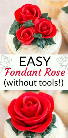 If you've got a ton of roses to make, or maybe you just don't want to spend hours making them, this easy fondant rose is the perfect solution. The only supply you need is fondant. You don't even need water to attach the petals. So quick and so easy to do and you don't have to keep up with a ton of cake decorating tools. #cakedecorating #fondantrose #fondanttutorial