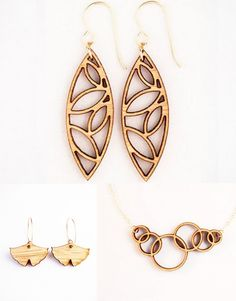 Laser cut wood jewelry http://www.thegrommet.com/made-in-the-usa/folia-design-sf-laser-cut-wooden-jewelry