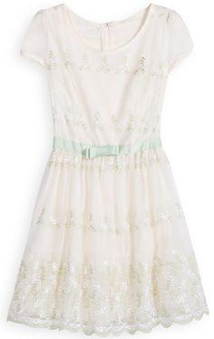 White Short Sleeve Floral Belt Pleated Dress - Sheinside.com