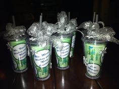 Teacher Xmas gifts!  Dollar store cups with personalized inserts from Alladin DIY mug inserts online. Included coffee gift card & individually packaged biscotti. Easy, inexpensive, and very cute. ...-r.galaviz