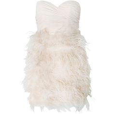 Rare Opulence Chiffon Bandeau Feather Dress ($485) ❤ liked on Polyvore