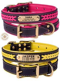Braided Leather Dog Collar Personalized Custom Brass by BronzeDog