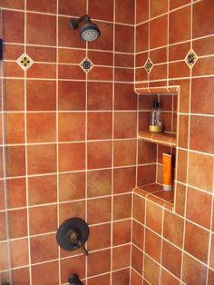 Mexican hacienda tile shower bathroom  burnt orange tile and brass copper  fixtures20 Best Mediterranean Bathroom Designs   Spanish style bathrooms  . Orange Bathroom Tile Ideas. Home Design Ideas