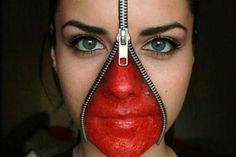 Zipper face Halloween makeup: Who knew you could create a Halloween costume with just a zipper and some lipstick?