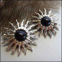 Funky Vintage Earrings Big Silver Suns Pierced 1980s Retro Jewelry $38