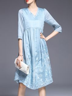 Shop Blue Gauze Embroidered A-Line Dress online. SheIn offers Blue Gauze Embroidered A-Line Dress & more to fit your fashionable needs.