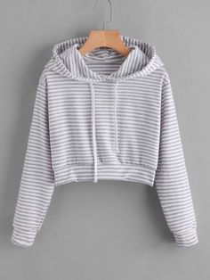 Go to shop romwe and buy striped drawstring hoodie. Girls Fashion Clothes, Teen Fashion Outfits, Outfits For Teens, Cute Sweatshirts, Cute Shirts, Men's Hoodies, Hooded Sweatshirts, Crop Top Hoodie, Sweater Hoodie
