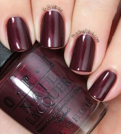 OPI: Sleigh Ride For Two - dark chocolate nail polish / lacquer with a strong red shimmer
