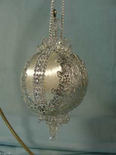 Handmade Beaded Christmas Tree Ornament Silver Medallions & Trims Lots of Beads