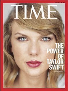 """Sie ist der wohl wichtigste weibliche Superstar der Stunde: Taylor Swift. Das Time-Magazin macht mit der Sängerin auf, verzichtet aber auf jede sexy Pose, sondern zeigt nur das Gesicht. Zeile: """"The Power of Taylor Swift""""."""