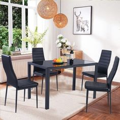 Glass Dining Room Furniture Set Metal Table and Chairs 4 Kitchen Breakfast Black…