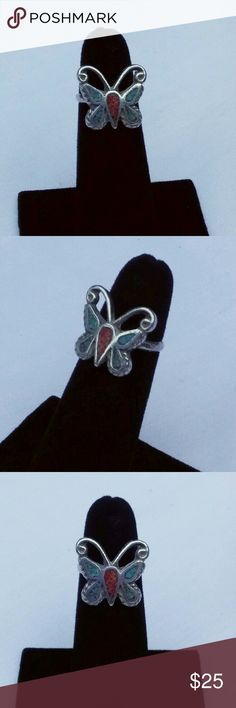 Vintage Silver Turquoise Butterfly Ring This sweet butterfly is crafted of solid silver. The wings consist is blue turquoise chips and the body of red turquoise. Handcrafted, it is not stamped but does acid test silver. It is a size 5 Vintage Jewelry Rings