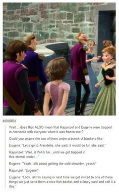 Flynn Rider and Rapunzel trapped in Arendalle for the deep freeze! Hahaha funny frozen / tangled meme oh my gosh XD Disney Pixar, Disney And Dreamworks, Disney Magic, Walt Disney, Disney Tangled, Punk Disney, Tangled Rapunzel, Disney Frozen, Disney Characters