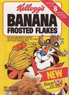 Buzzfeed: 25 Cereals From The '80s You Will Never Eat Again – Kellogg's Banana Frosted Flakes