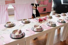 Cute puppy themed party.  Table setting.