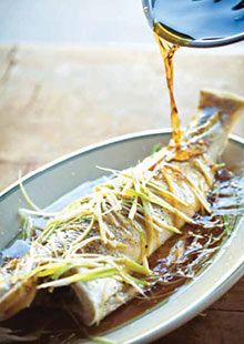 Steamed Whole fish with Spring onion, ginger and Soy