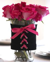 Flowers in a Corset Vase. Cute for a bachelorette party or Valentine's Day.