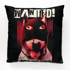 Dog Decorative Pillow, cushion Bull Terrier Wanted by PSIAKREW on Etsy