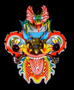 Painted Tin Mask - Contemporary diablo mask from Oruro, Bolivia