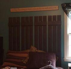 Vinyl shutters as a headboard