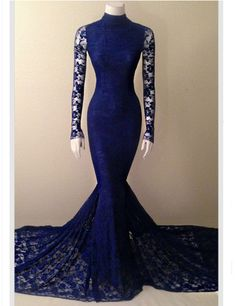 Royal Blue Lace Mermaid Prom Dresses 2016 High Quality Long Sleeve Lace Prom…