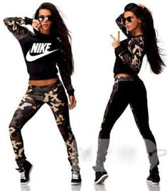 Sporty Outfits – jumpsuit nike just do it camouflage band t-shirt outfit sweater pants leggings swag style fashion tracksuit sportswear sports pants Fashion Mode, Sport Fashion, Look Fashion, Fitness Fashion, Teen Fashion, Fashion Trends, Fitness Outfits, Fitness Gear, Fashion Styles