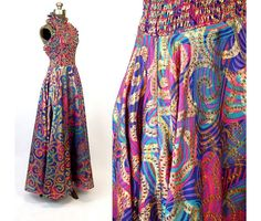 1970s gown gold metallic paisley pink purple teal by vintagerunway $139.00  Use coupon code PIN10 for a 10% discount.