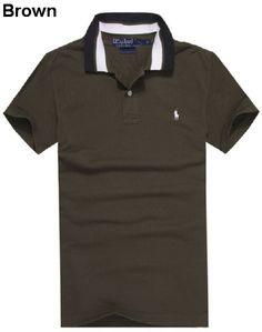 Ralph Lauren Men Striped Collar Pony Polo Shirts Brown