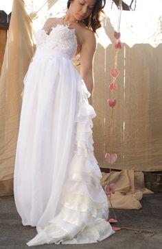 Wanelo Weddings | ... Ruffled Bohemian Chiffon Wedding Gown One by whiteromance on Wanelo