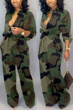 Lovely Casual Camouflage Printed Army Green One-piece Jumpsuit_Jumpsuit_Jumpsuit Camouflage Fashion, Camo Fashion, Style Fashion, Gothic Fashion, Wholesale Shoes, Wholesale Clothing, Green One Piece, Cheap Shoes Online, Printed Jumpsuit