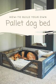"Discover how to build your own pallet dog bed! This is a perfect weekend project and requires two to three pallets to complete. This tutorial by Dana Laureano from the blog ""Ruggy DIY""  in collaboration with 1001Pallets will describe how to make this dog basket."
