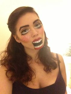 Ventriloquist doll special effects makeup for Halloween