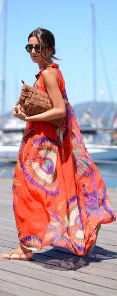 Beach Fun And Summer Looks 2018 Picture Description orange flowy Summer Maxi, Spring Summer Fashion, Summer Dresses, Maxi Dresses, Summer Outfit, Summer Time, 60s Dresses, Ladies Dresses, Woman Dresses