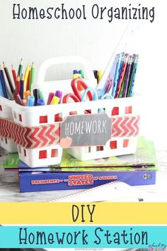 Dollar Tree homework station. Easy and cheap way for keep your school supplies organized at home. Homework Station Diy, Homework Organization, School Supplies Organization, Organisation Ideas, Homeschool Supplies, Back To School Hacks, School Signs, Financial Literacy, Dollar Tree